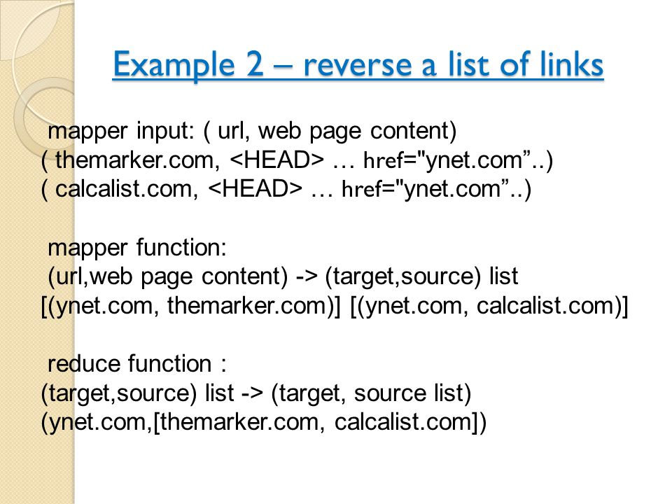 Example 2 – reverse a list of links