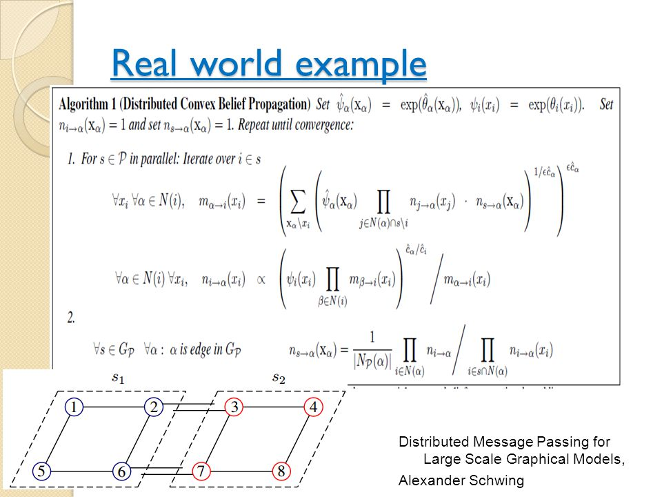 Real world example Distributed Message Passing for Large Scale Graphical Models, Alexander Schwing