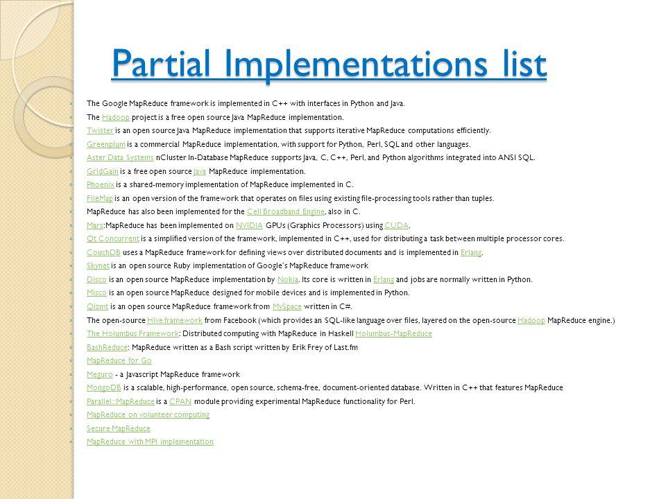Partial Implementations list