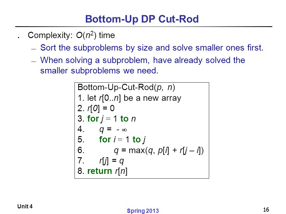 Bottom-Up DP Cut-Rod Complexity: O(n2) time