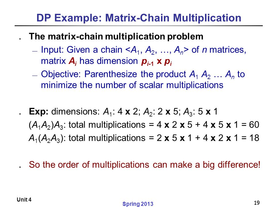 DP Example: Matrix-Chain Multiplication