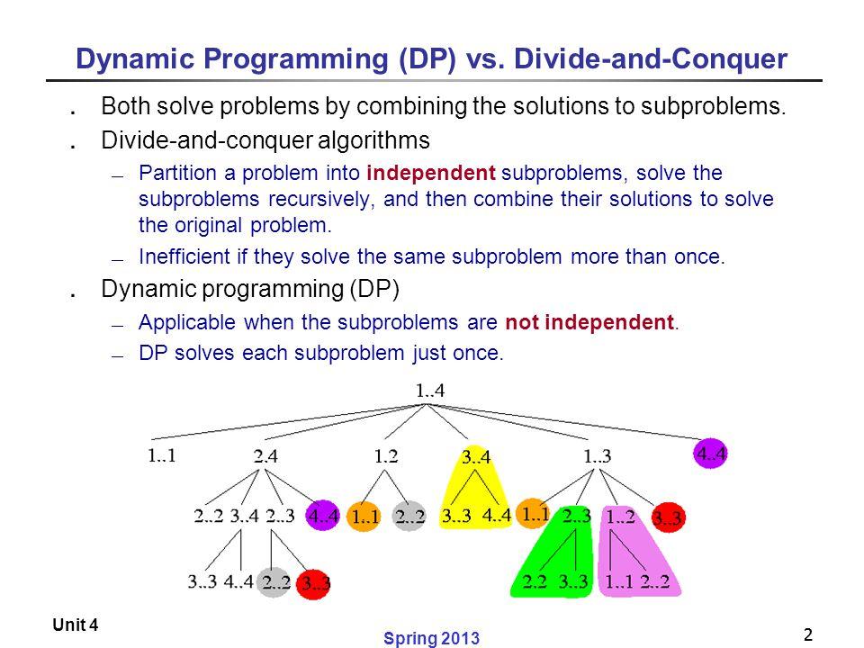 Dynamic Programming (DP) vs. Divide-and-Conquer