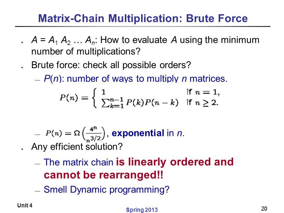 Matrix-Chain Multiplication: Brute Force