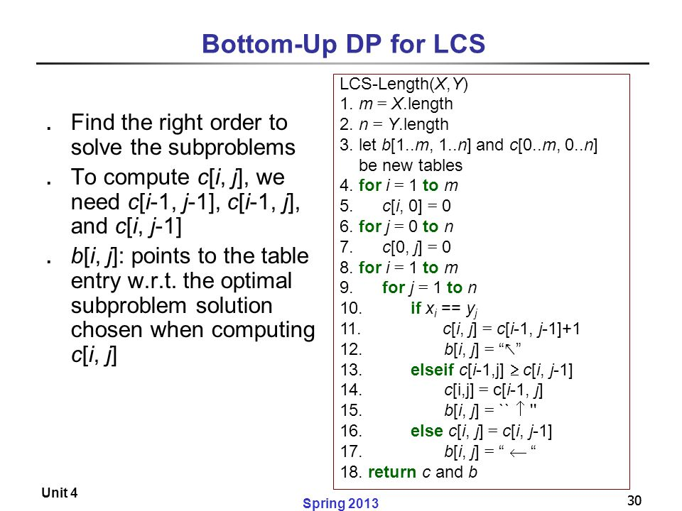Bottom-Up DP for LCS Find the right order to solve the subproblems