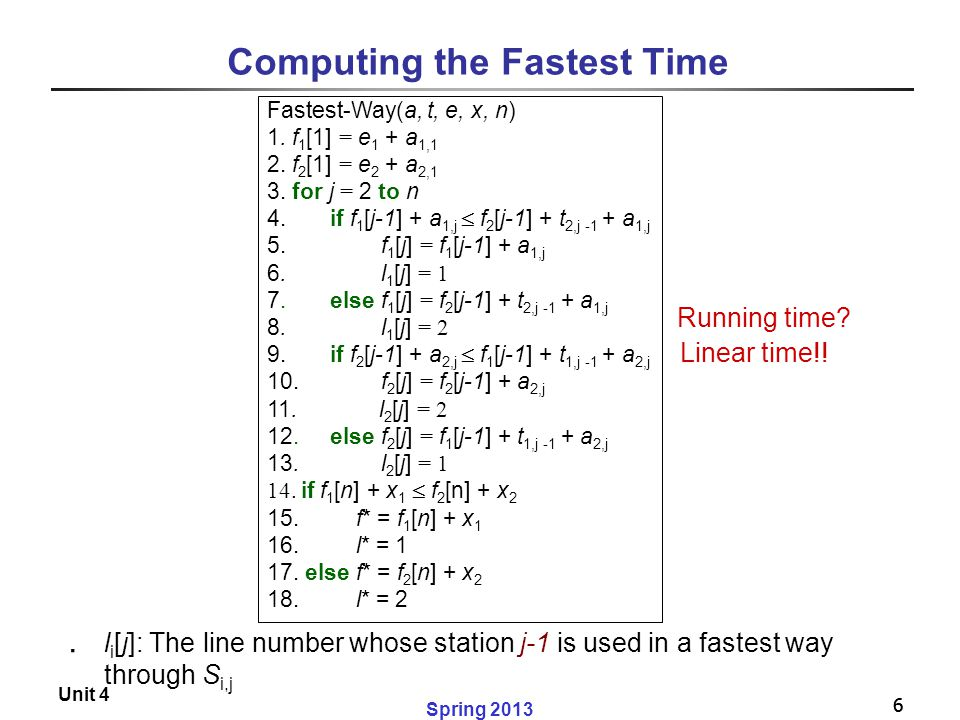 Computing the Fastest Time