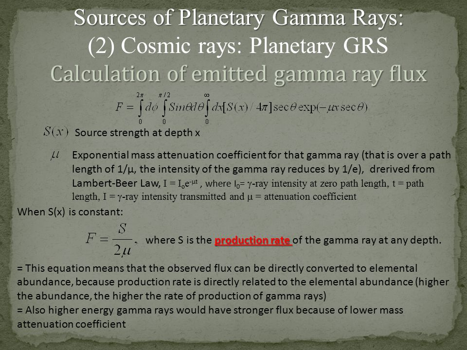 Sources of Planetary Gamma Rays: (2) Cosmic rays: Planetary GRS