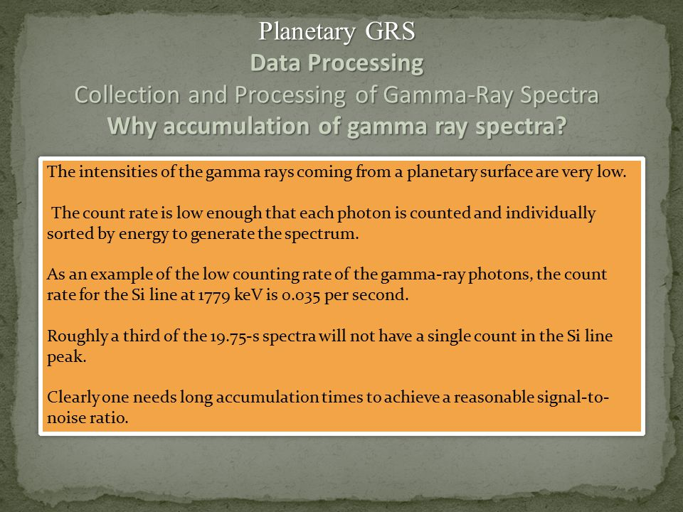 Collection and Processing of Gamma-Ray Spectra