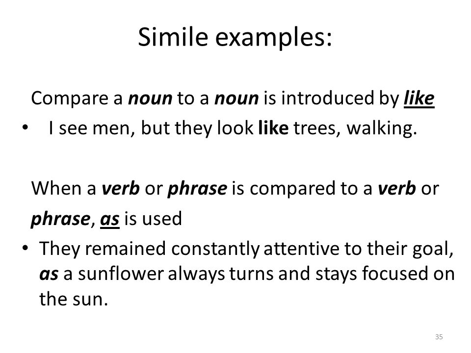 Simile examples: Compare a noun to a noun is introduced by like