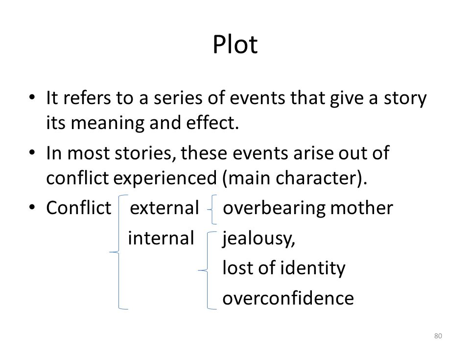 Plot It refers to a series of events that give a story its meaning and effect.