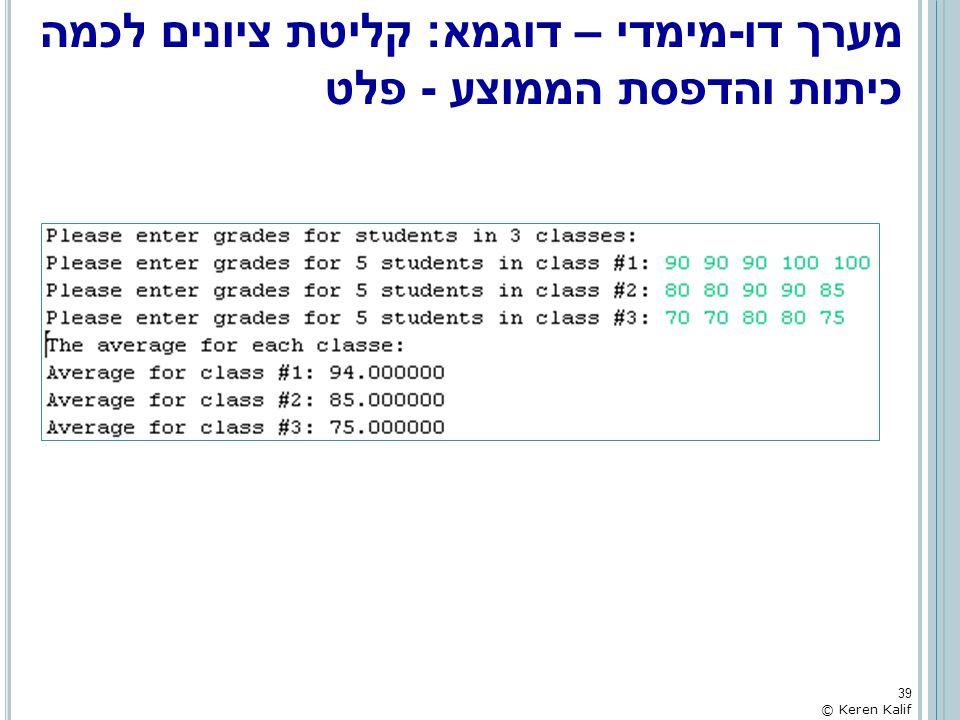 מערך דו-מימדי – דוגמא: קליטת ציונים לכמה כיתות והדפסת הממוצע - פלט