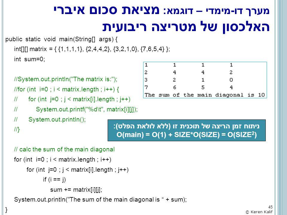 מערך דו-מימדי – דוגמא: מציאת סכום איברי האלכסון של מטריצה ריבועית