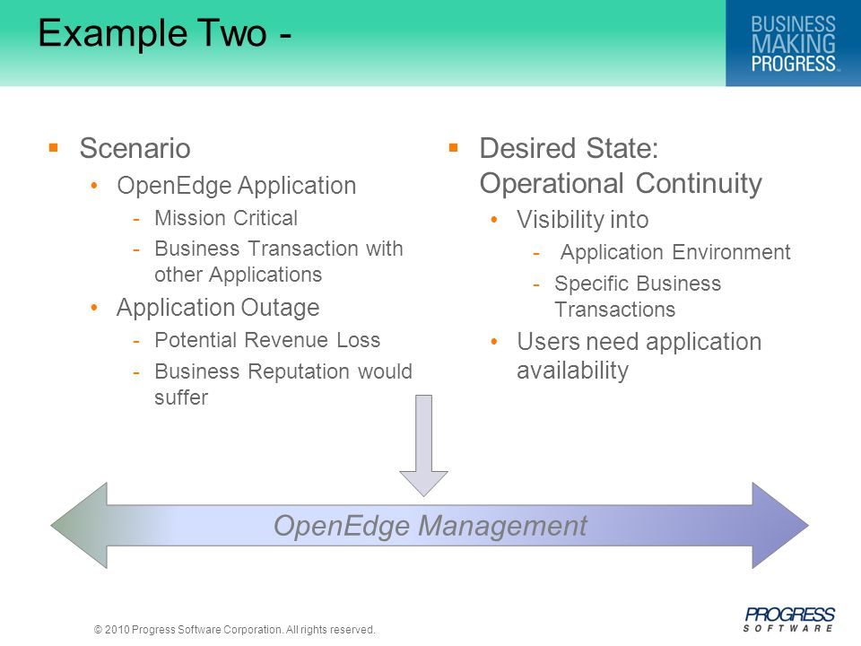 Example Two - Scenario Desired State: Operational Continuity