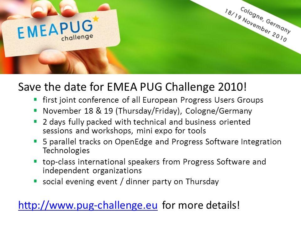 Save the date for EMEA PUG Challenge 2010!