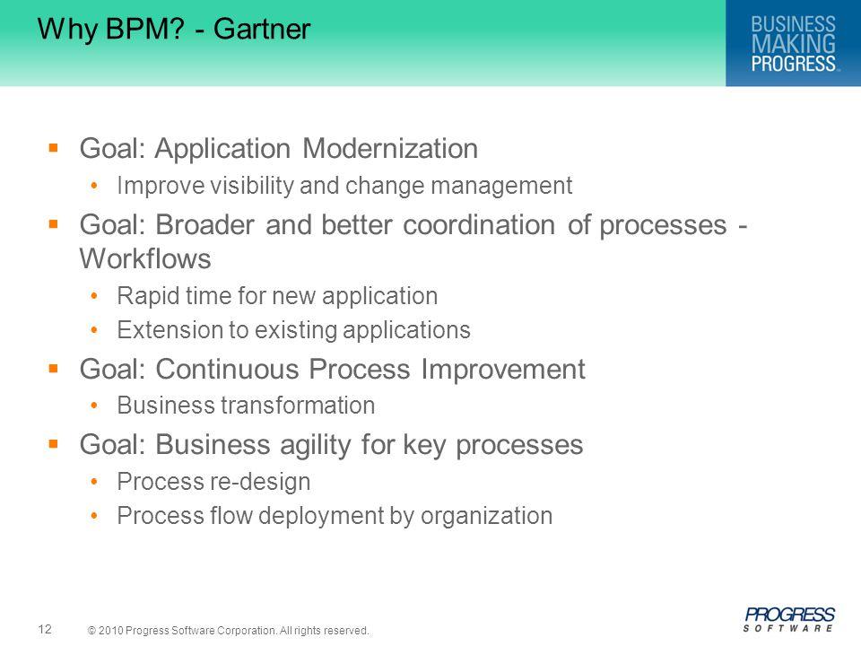 Why BPM - Gartner Goal: Application Modernization