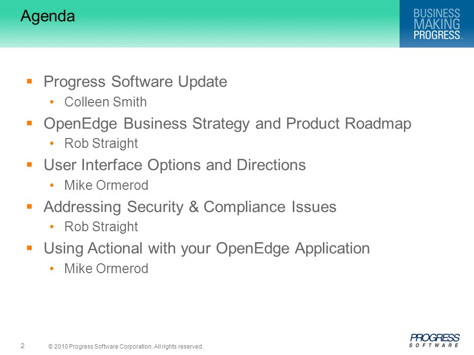 Agenda Progress Software Update