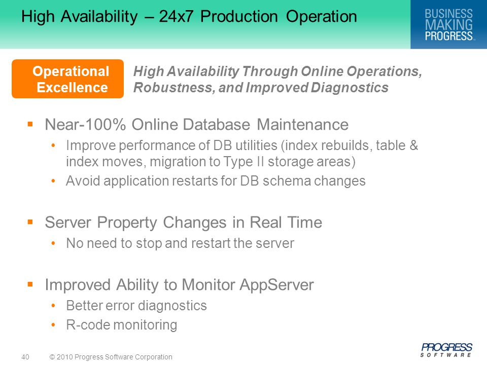 High Availability – 24x7 Production Operation