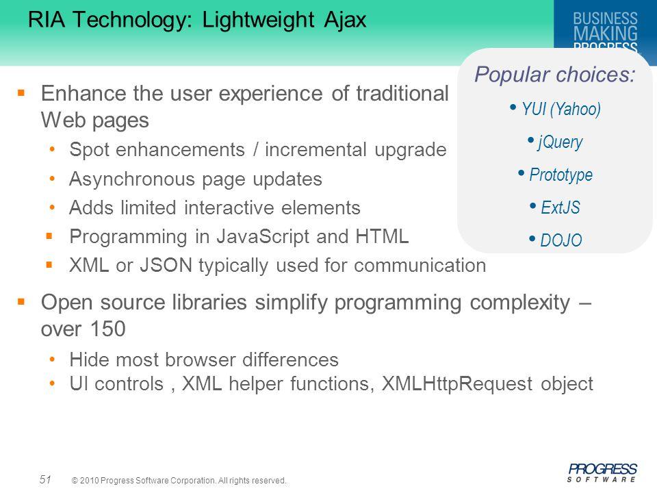 RIA Technology: Lightweight Ajax