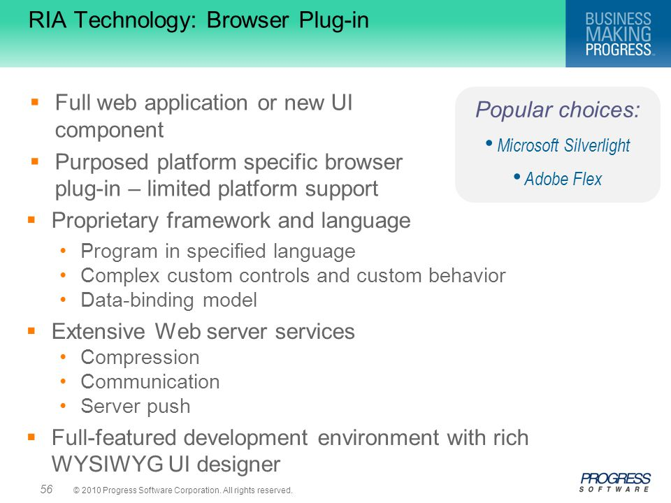 RIA Technology: Browser Plug-in