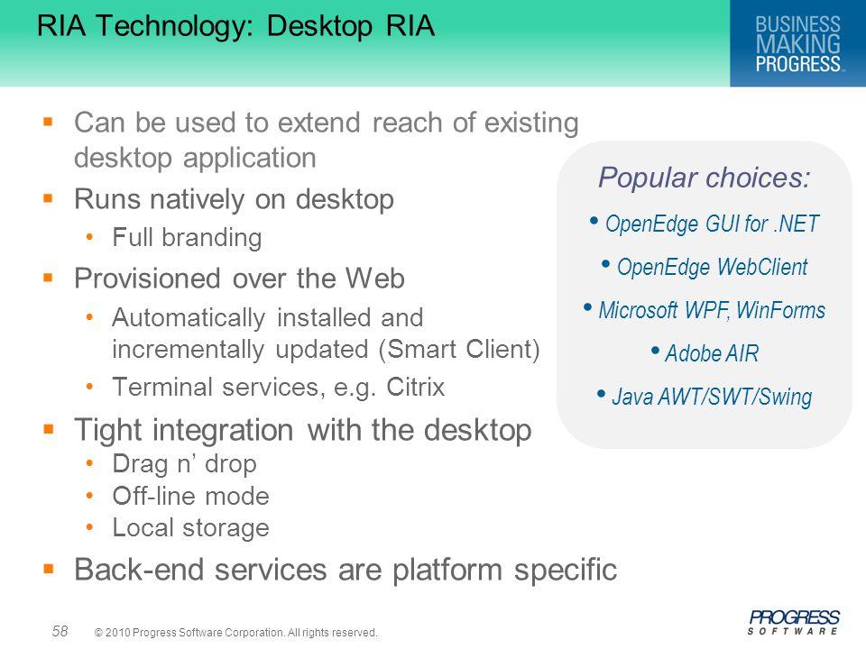 RIA Technology: Desktop RIA