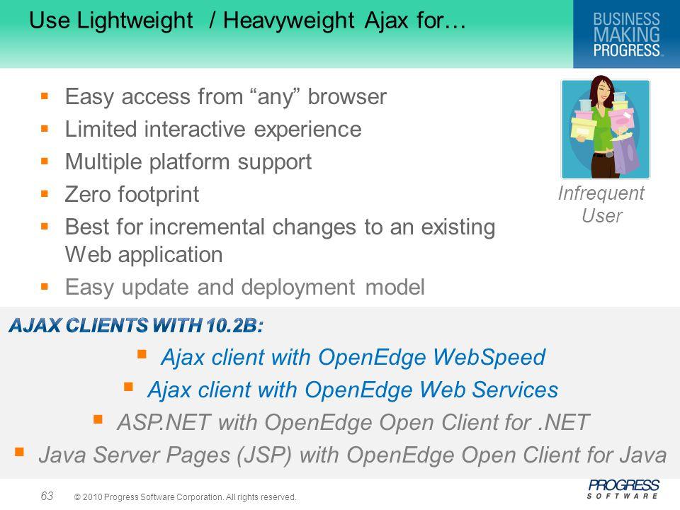 Use Lightweight / Heavyweight Ajax for…
