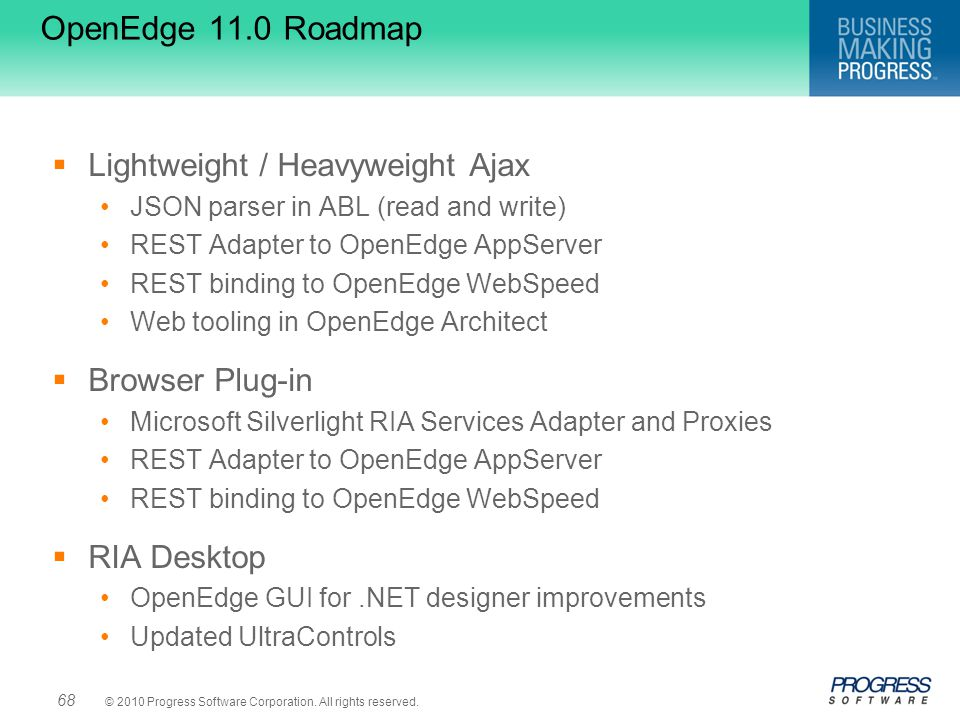 OpenEdge 11.0 Roadmap Lightweight / Heavyweight Ajax Browser Plug-in