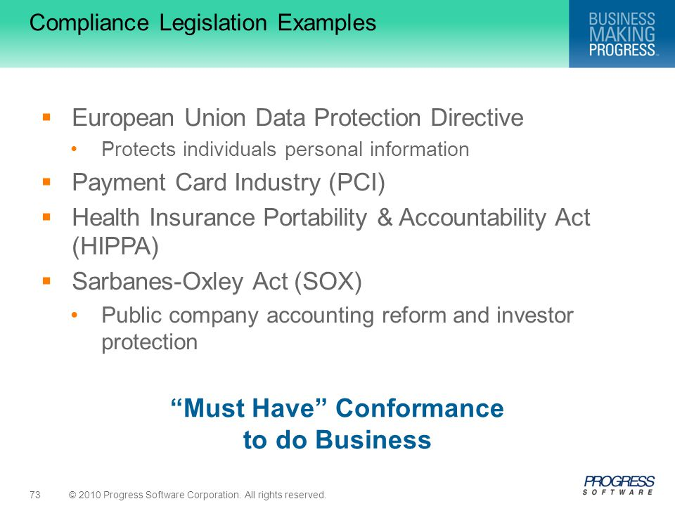 Compliance Legislation Examples