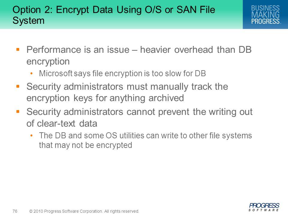 Option 2: Encrypt Data Using O/S or SAN File System