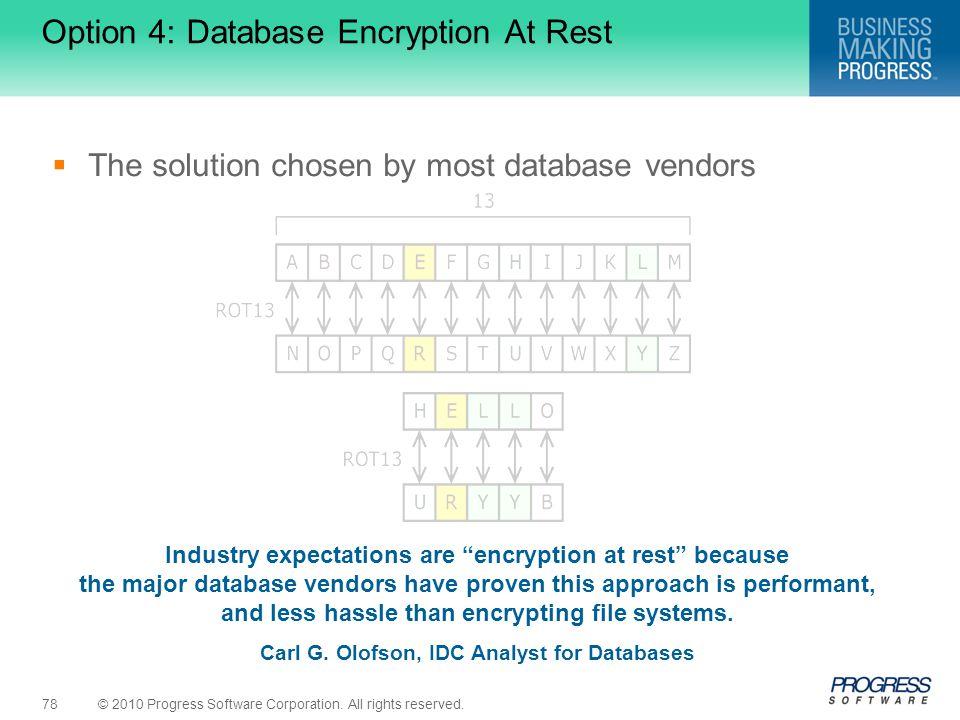 Option 4: Database Encryption At Rest