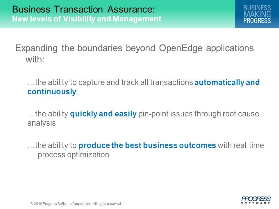 Business Transaction Assurance: New levels of Visibility and Management