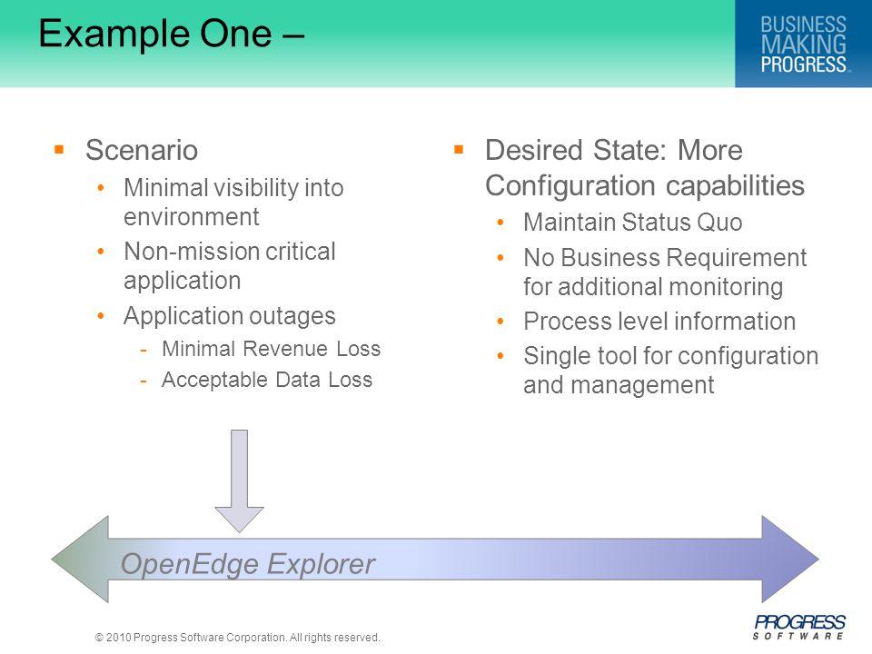 Example One – Scenario Desired State: More Configuration capabilities