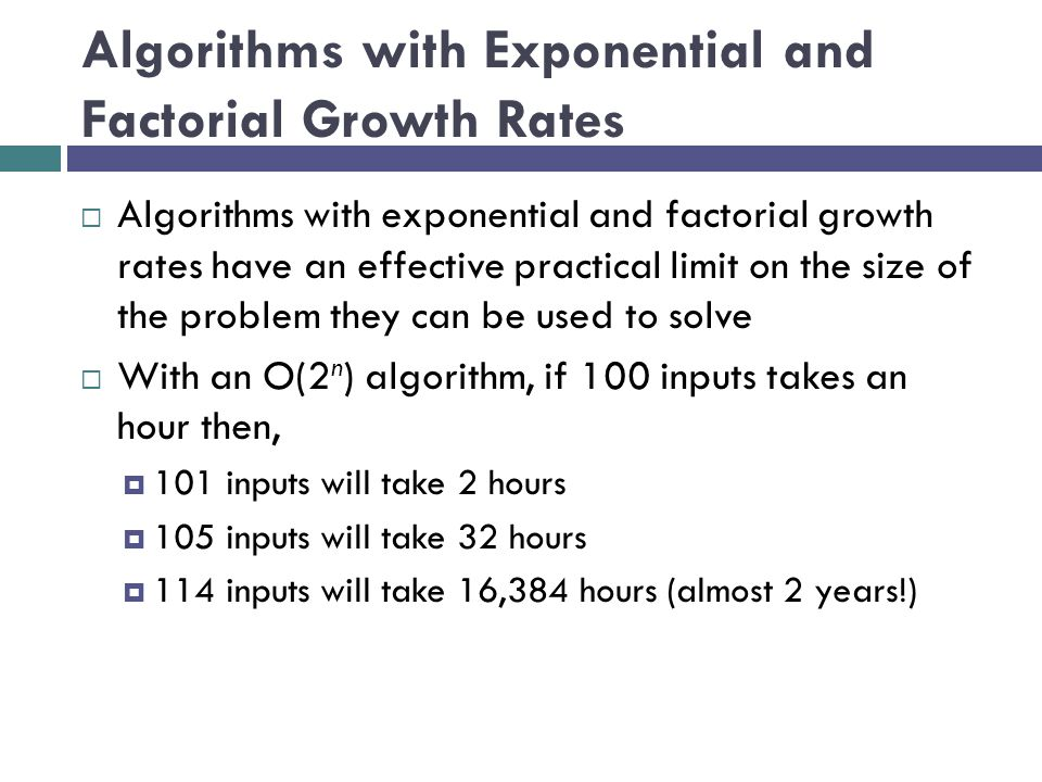 Algorithms with Exponential and Factorial Growth Rates