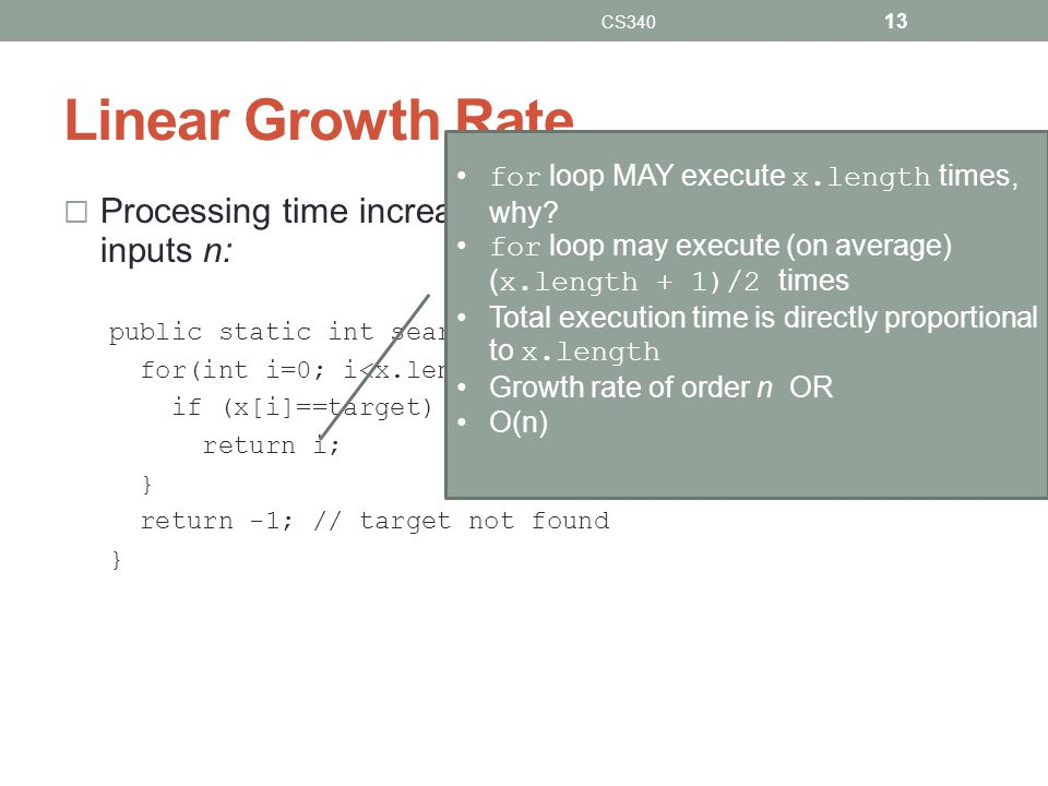 CS340 Linear Growth Rate. for loop MAY execute x.length times, why for loop may execute (on average) (x.length + 1)/2 times.