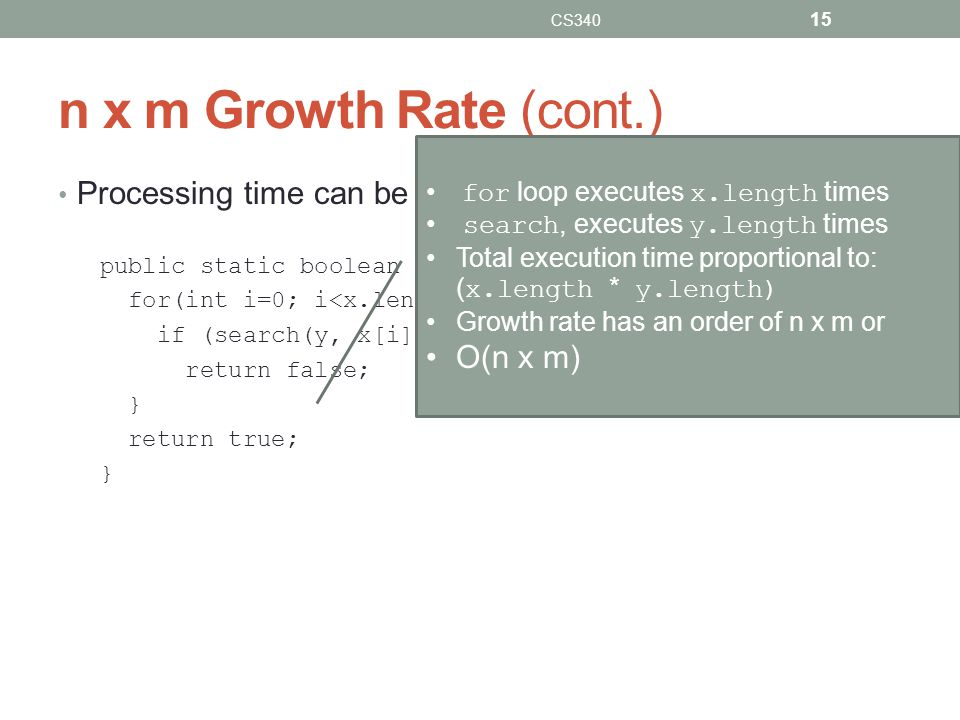 CS340 n x m Growth Rate (cont.) for loop executes x.length times. search, executes y.length times.