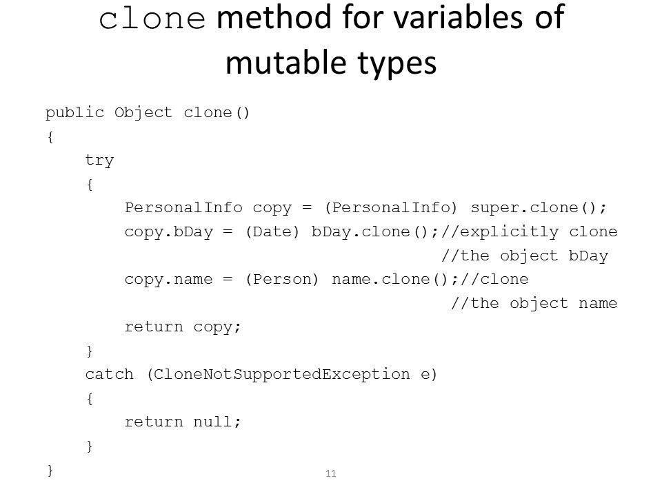 clone method for variables of mutable types