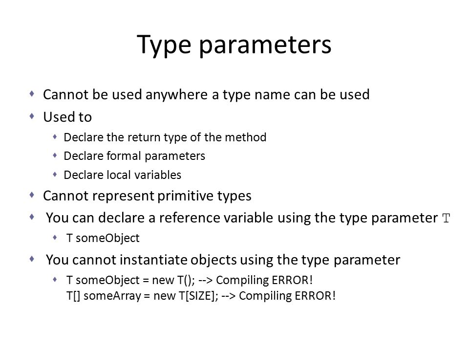 Type parameters Cannot be used anywhere a type name can be used