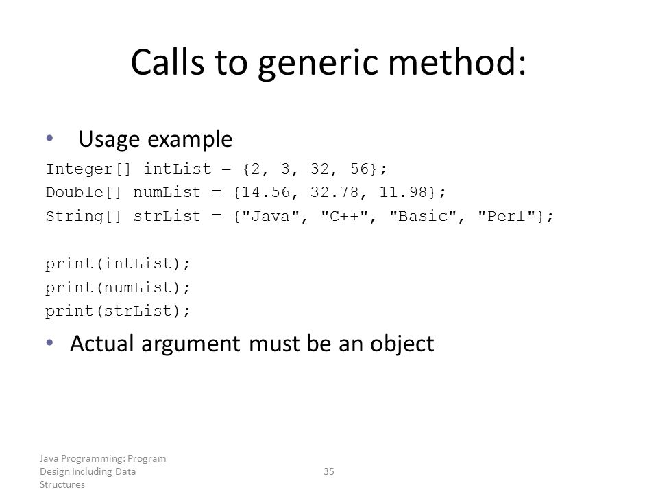 Calls to generic method: