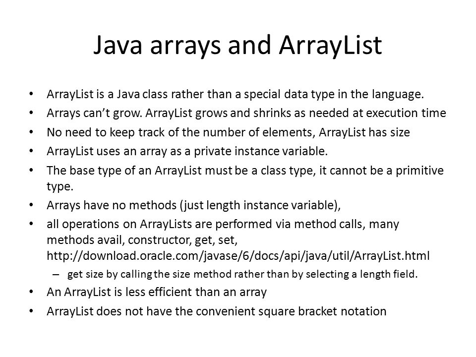 Java arrays and ArrayList