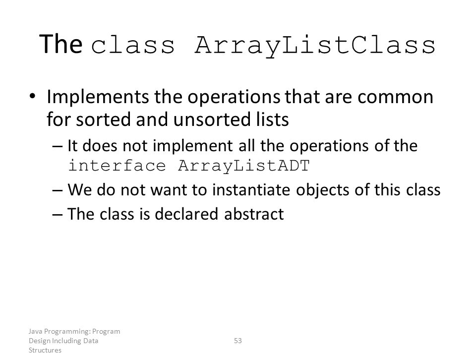 The class ArrayListClass