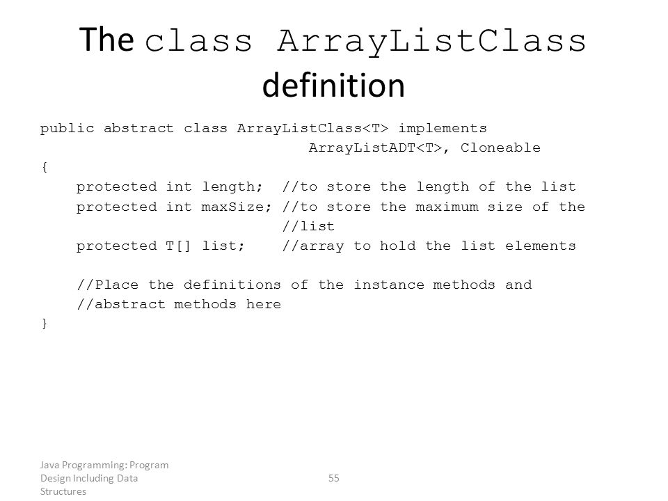 The class ArrayListClass definition