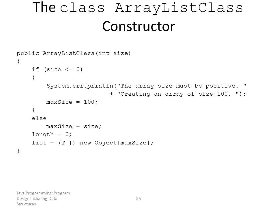 The class ArrayListClass Constructor