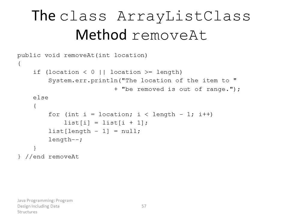 The class ArrayListClass Method removeAt
