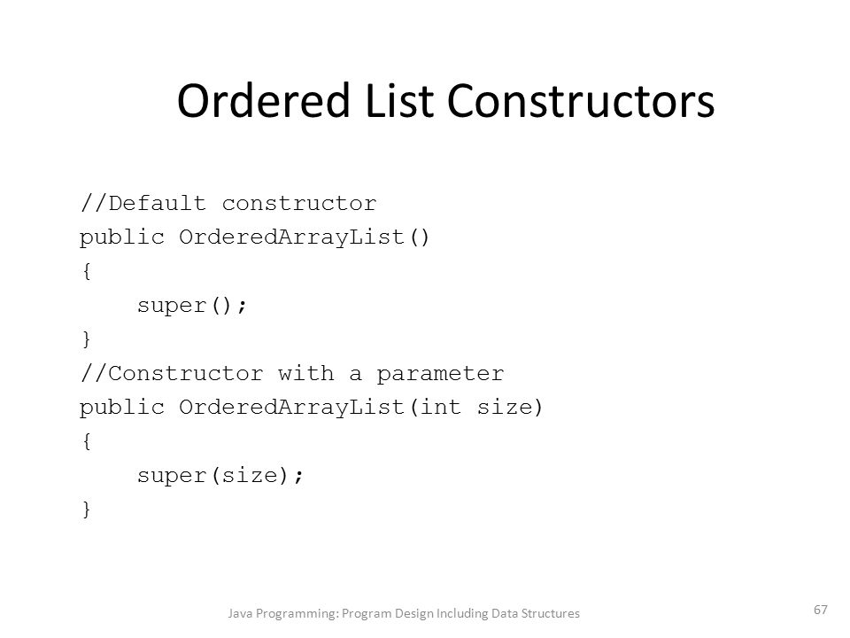 Ordered List Constructors