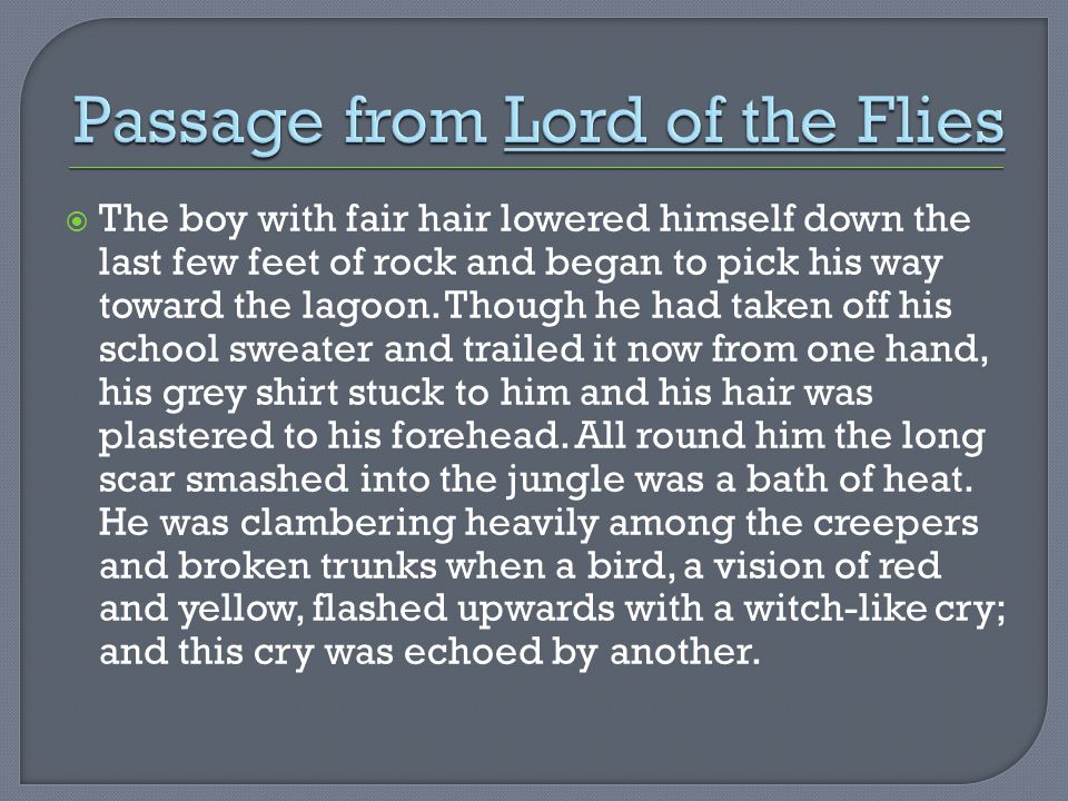 Passage from Lord of the Flies