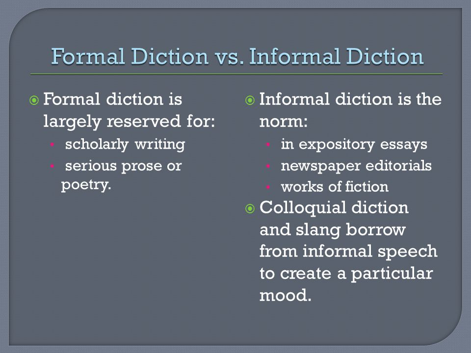 Formal Diction vs. Informal Diction