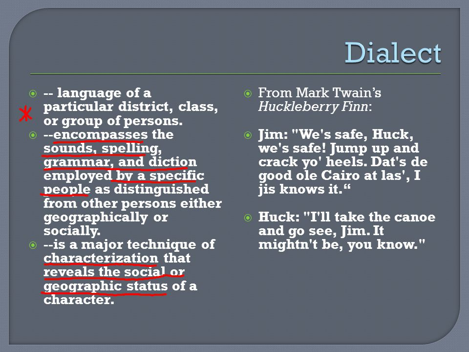 Dialect -- language of a particular district, class, or group of persons.