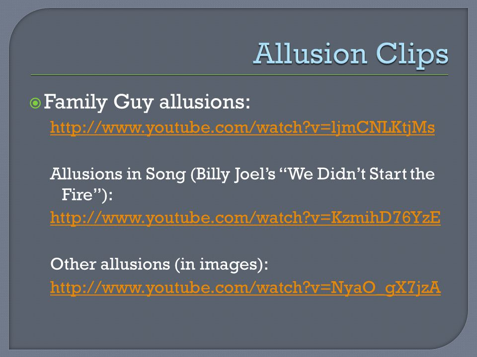 Allusion Clips Family Guy allusions: