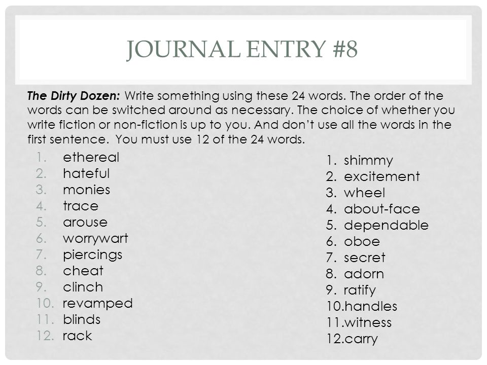 Journal entry #8 ethereal hateful monies trace arouse worrywart