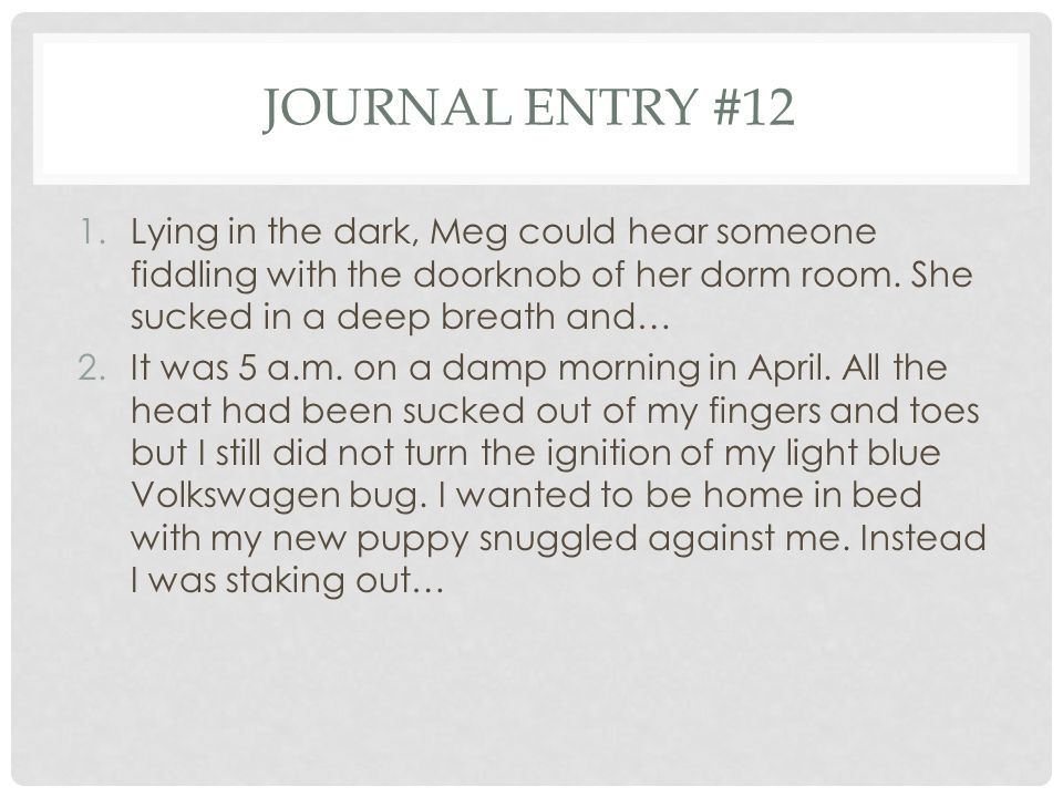 Journal entry #12 Lying in the dark, Meg could hear someone fiddling with the doorknob of her dorm room. She sucked in a deep breath and…