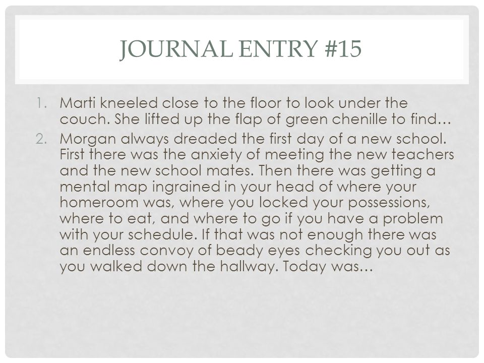 Journal entry #15 Marti kneeled close to the floor to look under the couch. She lifted up the flap of green chenille to find…
