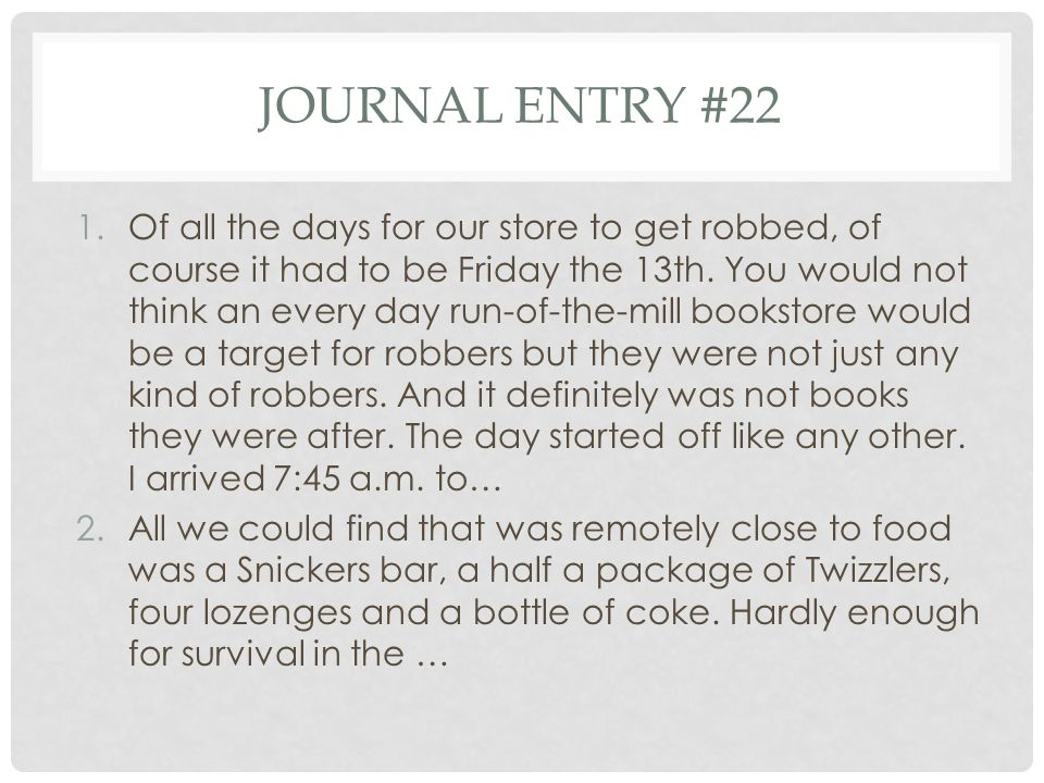 Journal entry #22